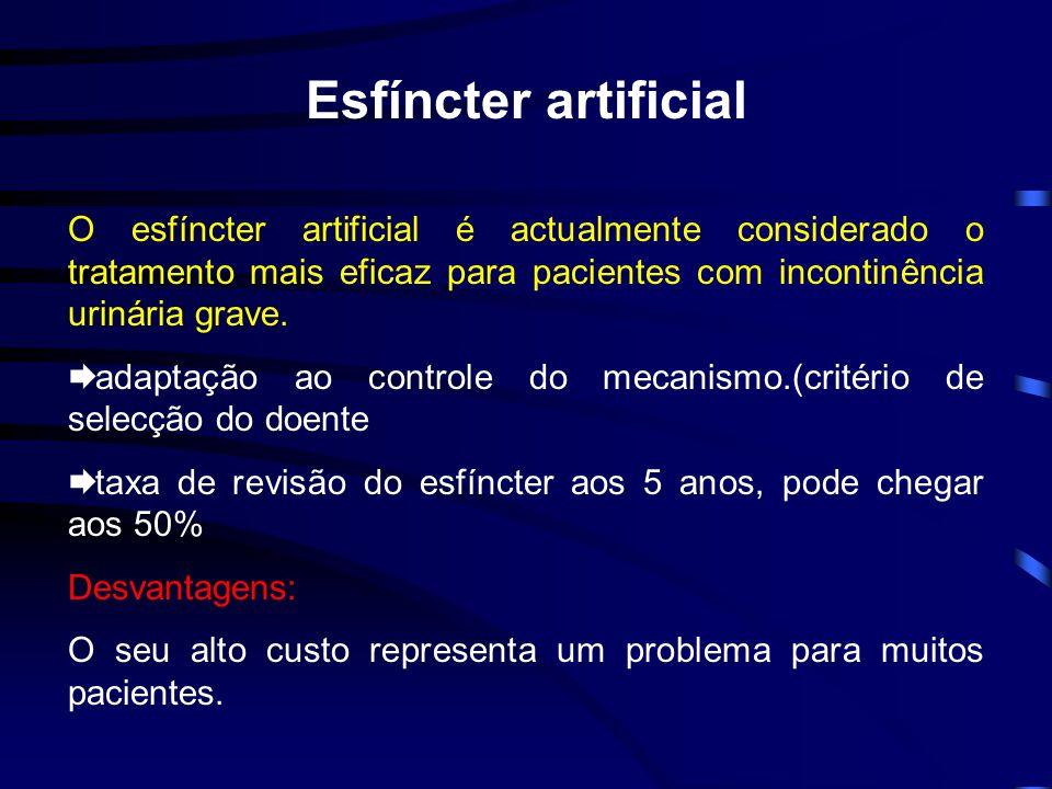 Esfíncter artificial O esfíncter artificial é actualmente considerado o tratamento mais eficaz para pacientes com incontinência urinária grave. adapta