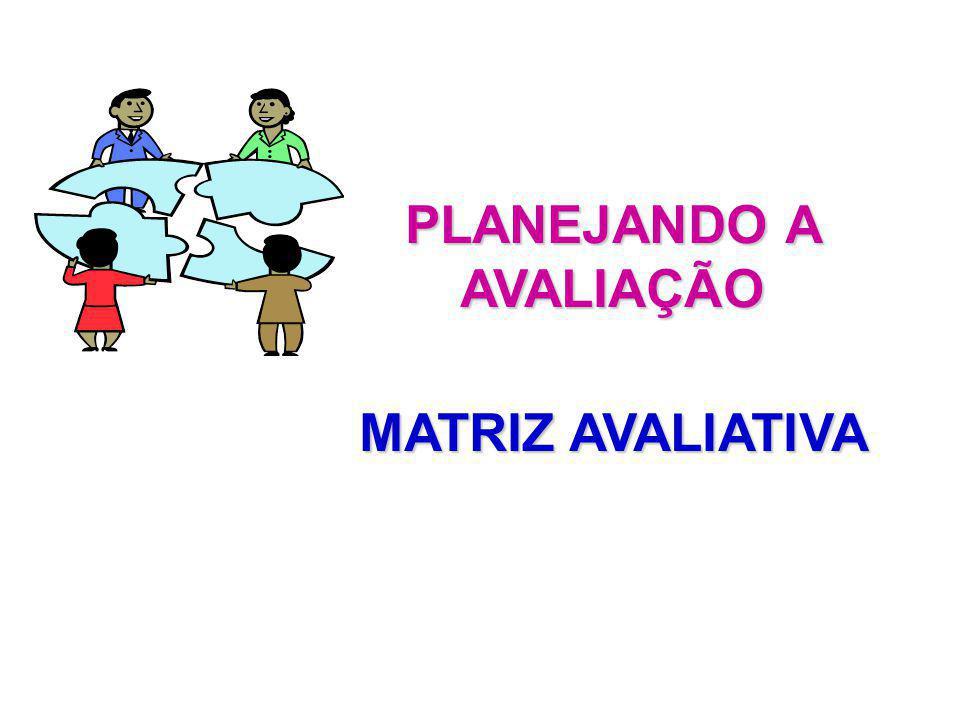 PLANEJANDO A AVALIAÇÃO MATRIZ AVALIATIVA