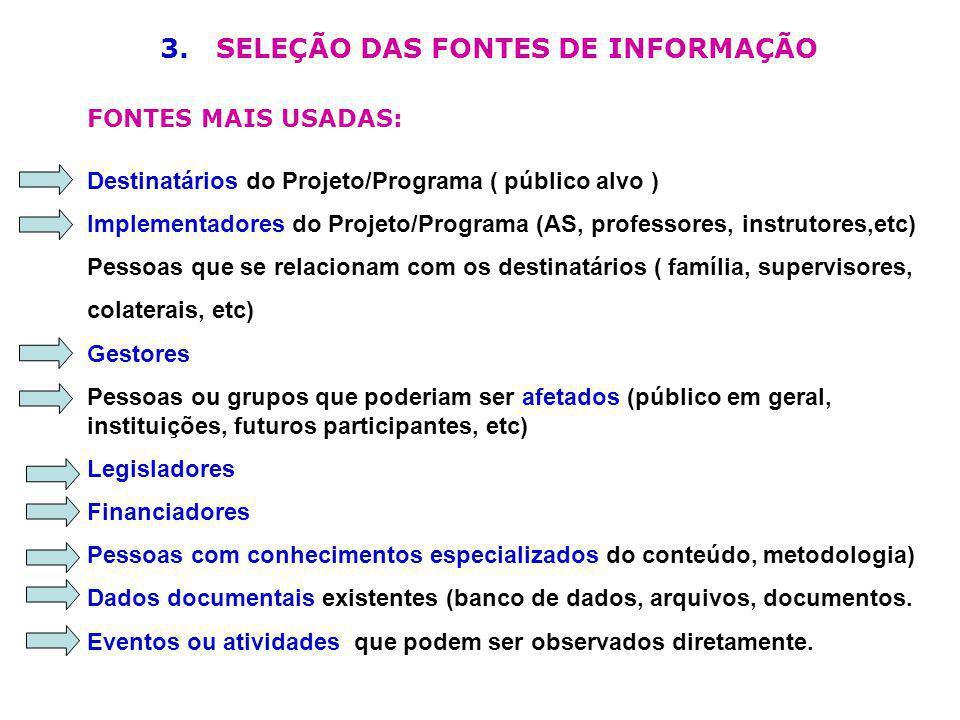 3. SELEÇÃO DAS FONTES DE INFORMAÇÃO FONTES MAIS USADAS: Destinatários do Projeto/Programa ( público alvo ) Implementadores do Projeto/Programa (AS, pr