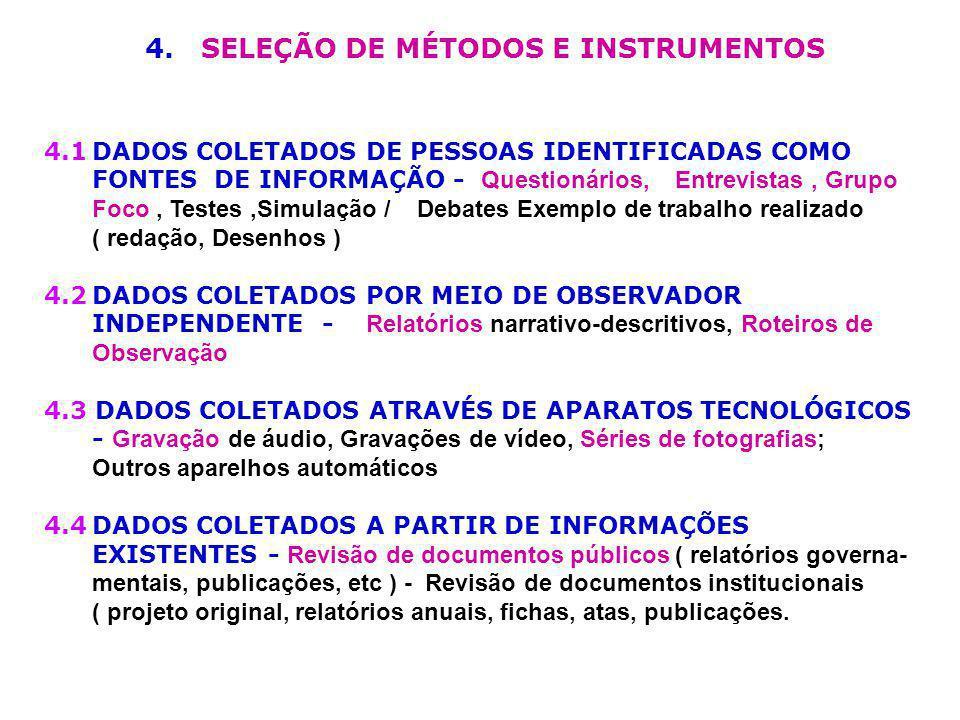 4. SELEÇÃO DE MÉTODOS E INSTRUMENTOS 4.1DADOS COLETADOS DE PESSOAS IDENTIFICADAS COMO FONTES DE INFORMAÇÃO - Questionários, Entrevistas, Grupo Foco, T