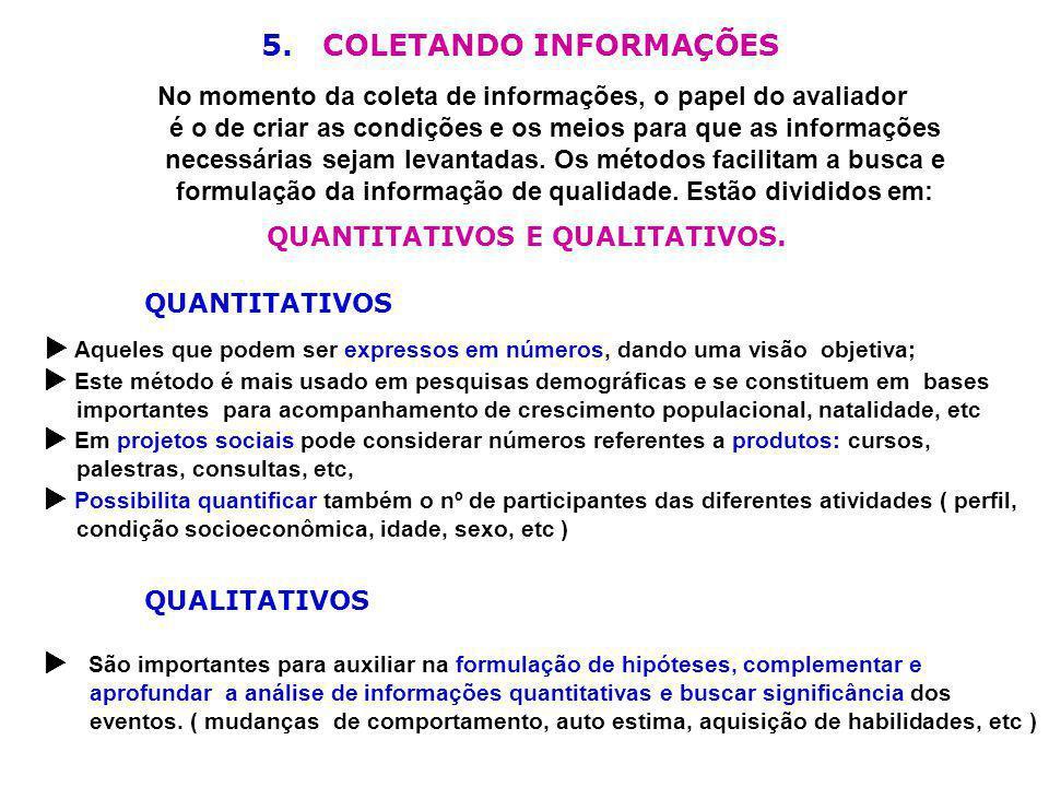 5. COLETANDO INFORMAÇÕES No momento da coleta de informações, o papel do avaliador é o de criar as condições e os meios para que as informações necess