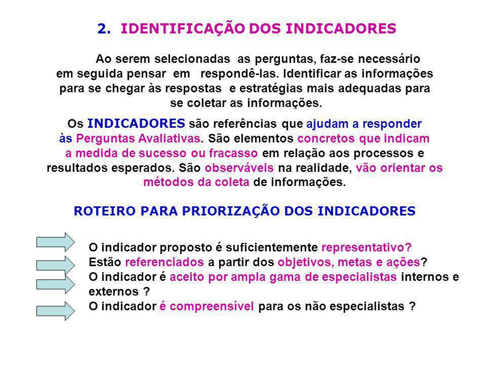 2. IDENTIFICAÇÃO DOS INDICADORES Ao serem selecionadas as perguntas, faz-se necessário em seguida pensar em respondê-las. Identificar as informações p