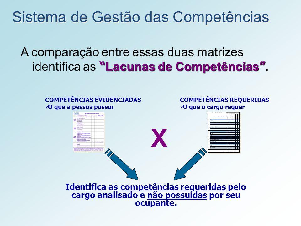 COMPETÊNCIAS EVIDENCIADAS O que a pessoa possui COMPETÊNCIAS REQUERIDAS O que o cargo requer Sistema de Gestão das Competências Lacunas de Competência