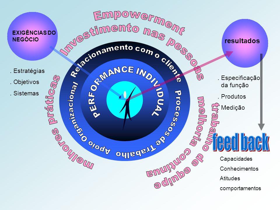 resultados. Especificação da função. Produtos. Medição EXIGÊNCIAS DO NEGÓCIO. Estratégias. Objetivos. Sistemas Capacidades Conhecimentos Atitudes comp