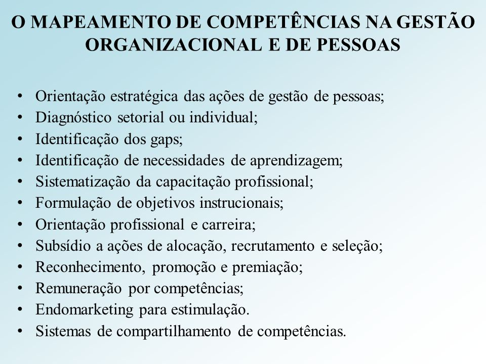 O MAPEAMENTO DE COMPETÊNCIAS NA GESTÃO ORGANIZACIONAL E DE PESSOAS Orientação estratégica das ações de gestão de pessoas; Diagnóstico setorial ou indi
