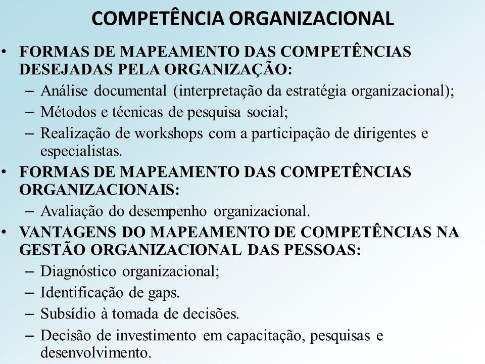 COMPETÊNCIA ORGANIZACIONAL FORMAS DE MAPEAMENTO DAS COMPETÊNCIAS DESEJADAS PELA ORGANIZAÇÃO: – Análise documental (interpretação da estratégia organiz