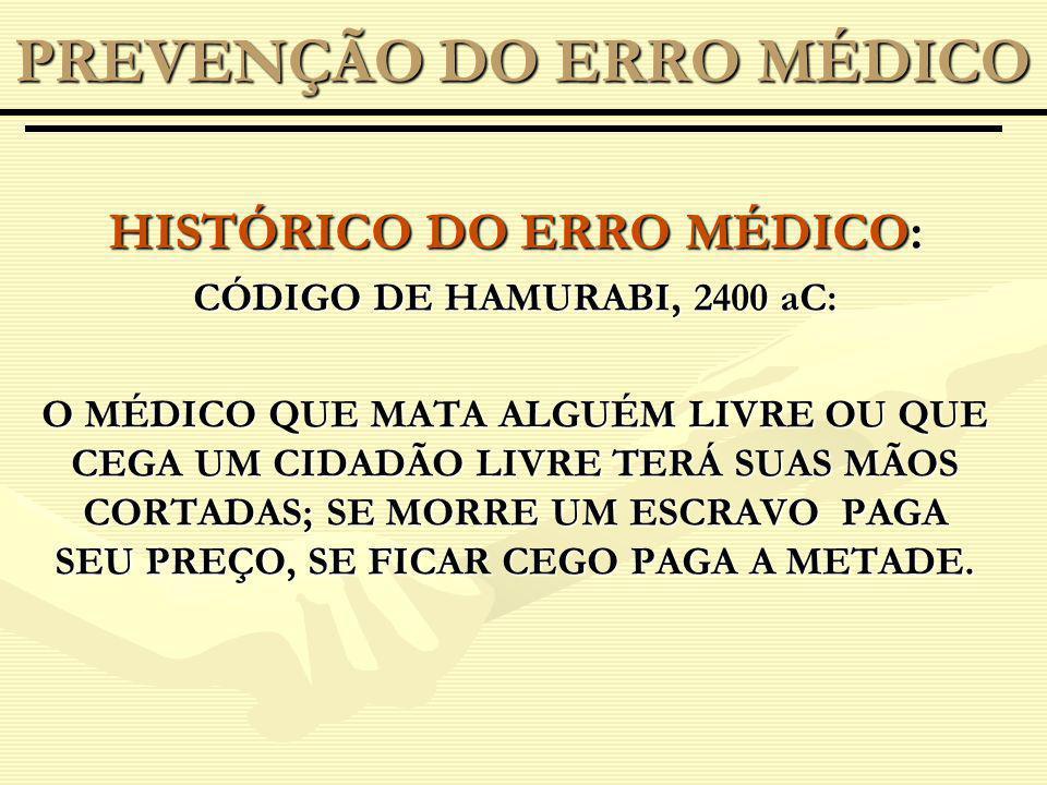 HISTÓRICO DO ERRO MÉDICO: CÓDIGO DE HAMURABI, 2400 aC: O MÉDICO QUE MATA ALGUÉM LIVRE OU QUE CEGA UM CIDADÃO LIVRE TERÁ SUAS MÃOS CORTADAS; SE MORRE UM ESCRAVO PAGA SEU PREÇO, SE FICAR CEGO PAGA A METADE.