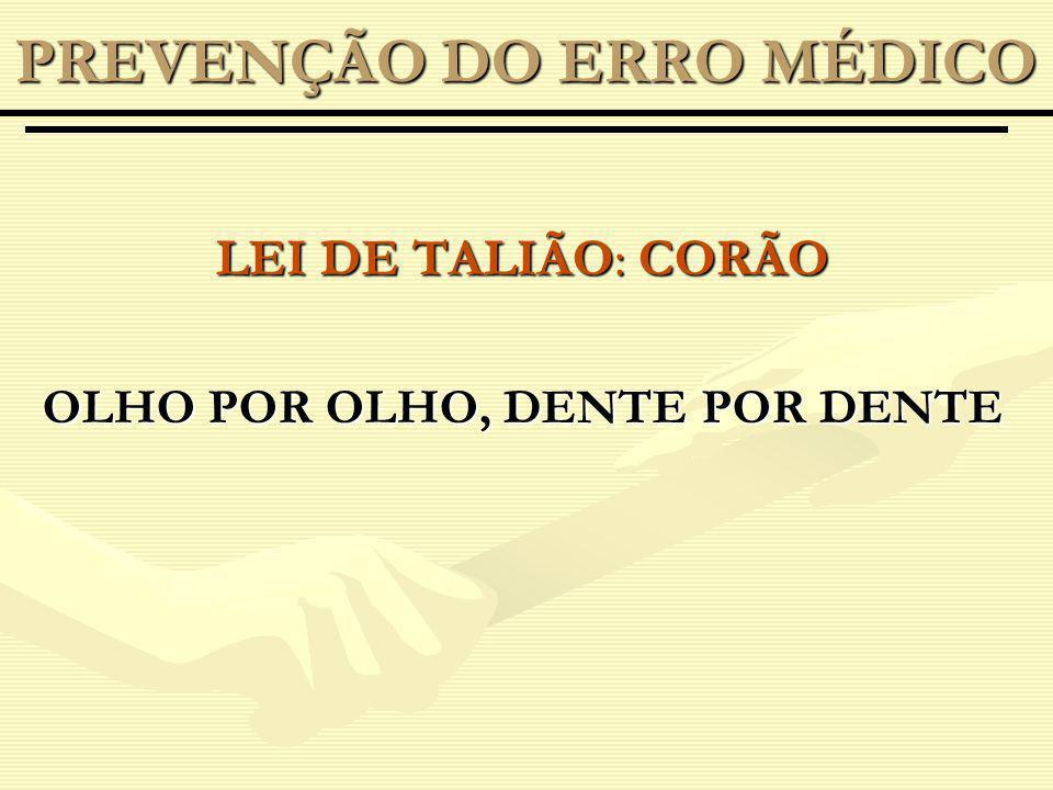 LEI DE TALIÃO: CORÃO OLHO POR OLHO, DENTE POR DENTE PREVENÇÃO DO ERRO MÉDICO