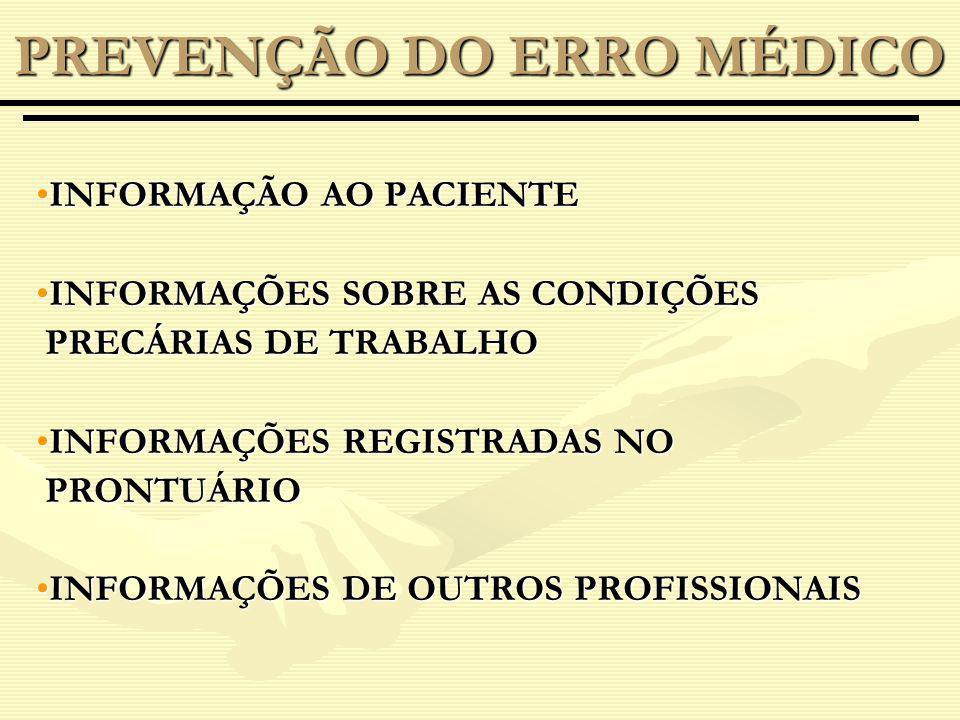 INFORMAÇÃO AO PACIENTEINFORMAÇÃO AO PACIENTE INFORMAÇÕES SOBRE AS CONDIÇÕESINFORMAÇÕES SOBRE AS CONDIÇÕES PRECÁRIAS DE TRABALHO PRECÁRIAS DE TRABALHO INFORMAÇÕES REGISTRADAS NOINFORMAÇÕES REGISTRADAS NO PRONTUÁRIO PRONTUÁRIO INFORMAÇÕES DE OUTROS PROFISSIONAISINFORMAÇÕES DE OUTROS PROFISSIONAIS PREVENÇÃO DO ERRO MÉDICO