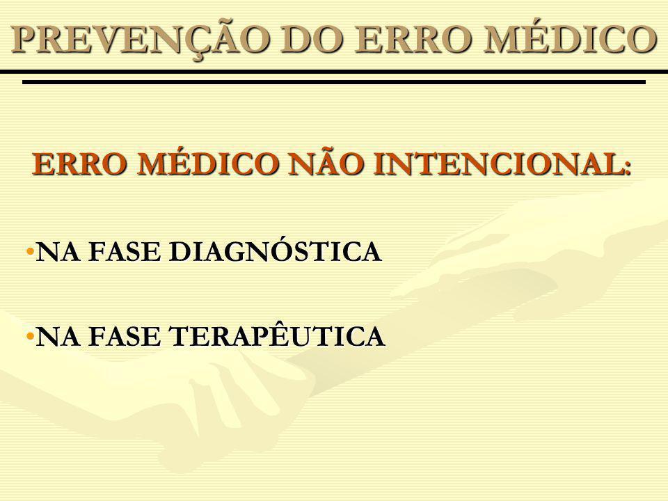 ERRO MÉDICO NÃO INTENCIONAL : NA FASE DIAGNÓSTICANA FASE DIAGNÓSTICA NA FASE TERAPÊUTICANA FASE TERAPÊUTICA PREVENÇÃO DO ERRO MÉDICO