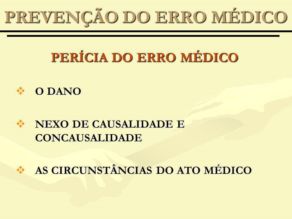 PERÍCIA DO ERRO MÉDICO O DANO O DANO NEXO DE CAUSALIDADE E CONCAUSALIDADE NEXO DE CAUSALIDADE E CONCAUSALIDADE AS CIRCUNSTÂNCIAS DO ATO MÉDICO AS CIRCUNSTÂNCIAS DO ATO MÉDICO PREVENÇÃO DO ERRO MÉDICO