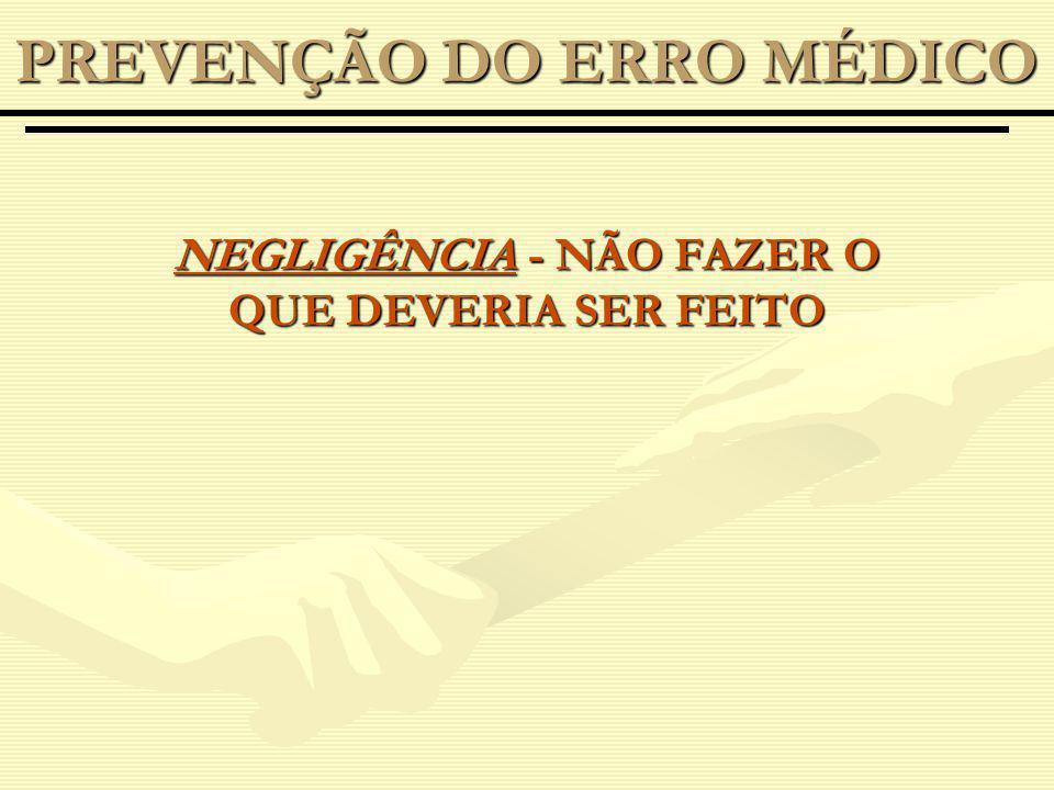 NEGLIGÊNCIA - NÃO FAZER O QUE DEVERIA SER FEITO PREVENÇÃO DO ERRO MÉDICO