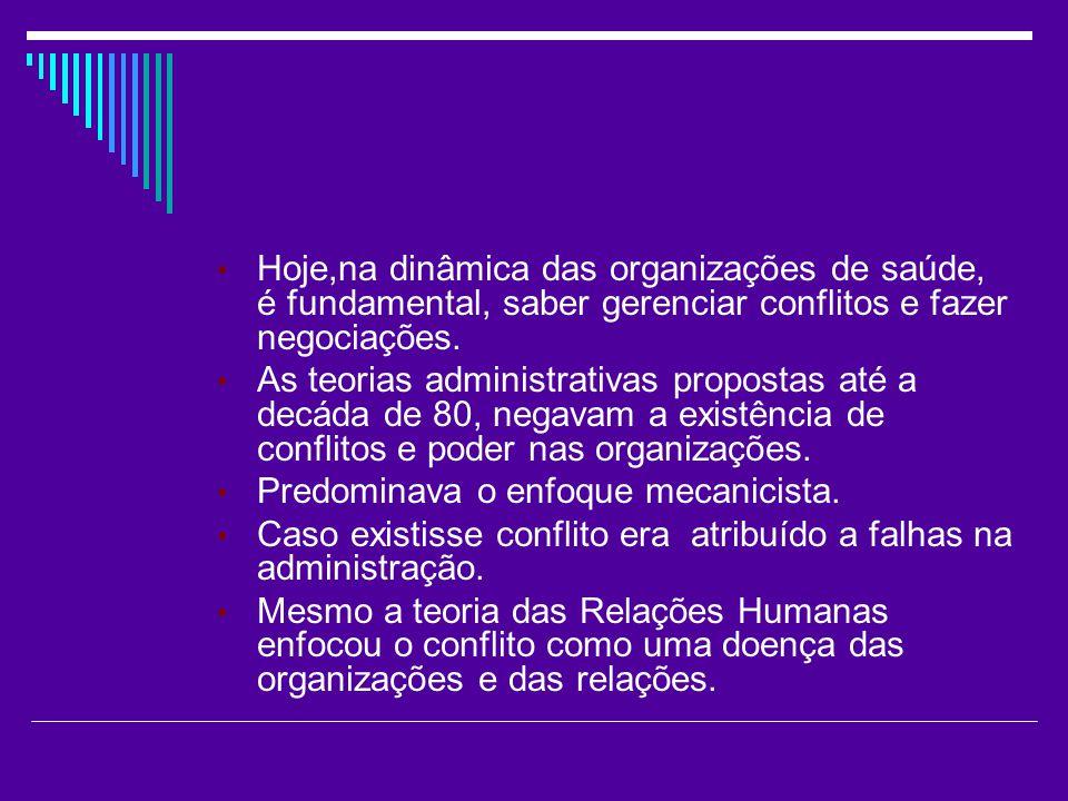 Hoje,na dinâmica das organizações de saúde, é fundamental, saber gerenciar conflitos e fazer negociações. As teorias administrativas propostas até a d