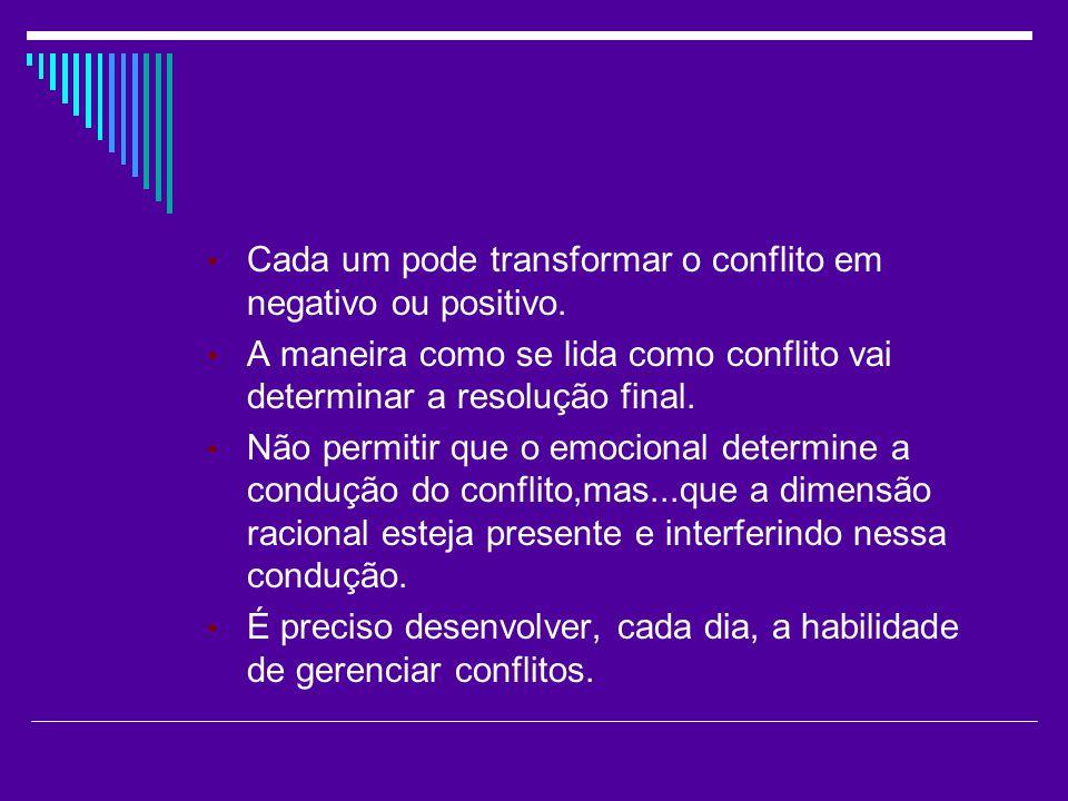 Cada um pode transformar o conflito em negativo ou positivo. A maneira como se lida como conflito vai determinar a resolução final. Não permitir que o