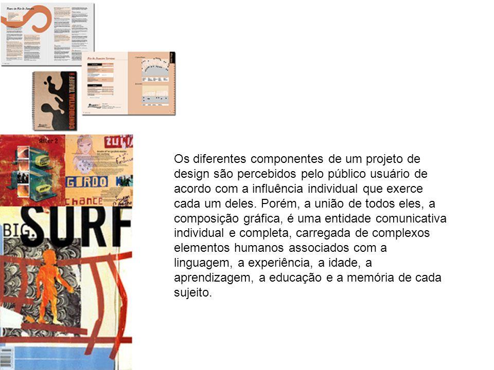 Os diferentes componentes de um projeto de design são percebidos pelo público usuário de acordo com a influência individual que exerce cada um deles.