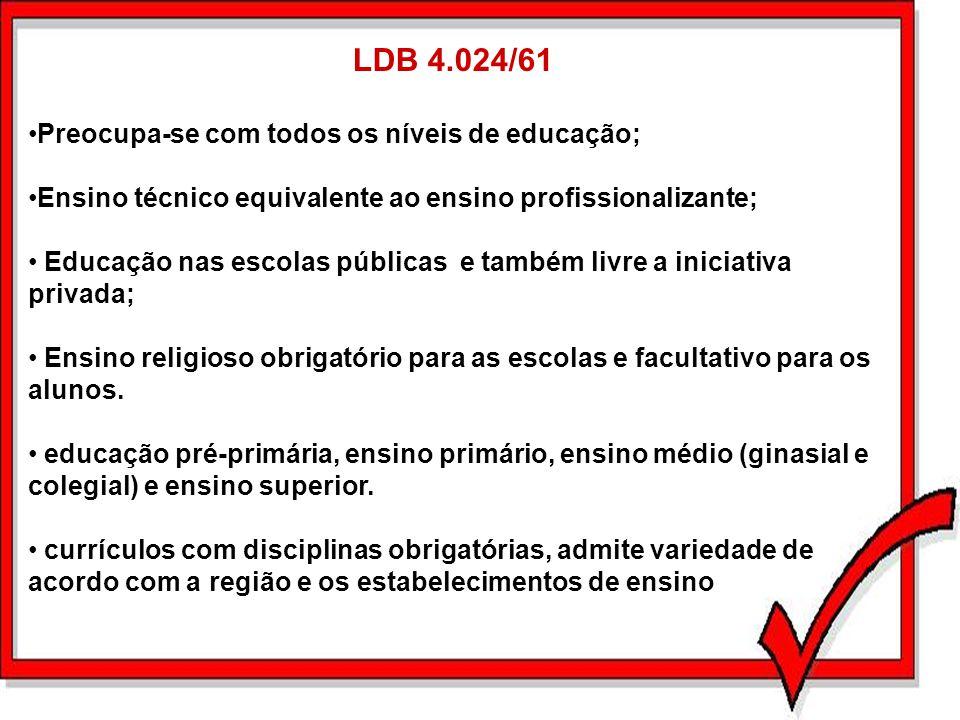 LDB 4.024/61 Preocupa-se com todos os níveis de educação; Ensino técnico equivalente ao ensino profissionalizante; Educação nas escolas públicas e tam