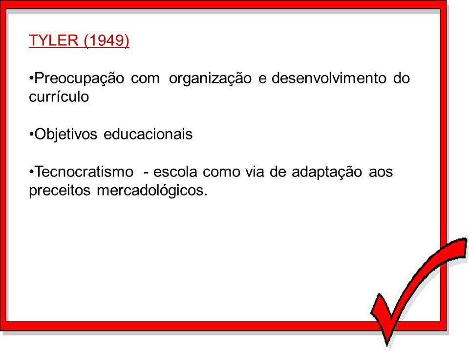 TYLER (1949) Preocupação com organização e desenvolvimento do currículo Objetivos educacionais Tecnocratismo - escola como via de adaptação aos precei
