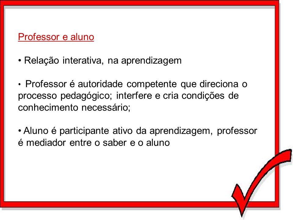 Professor e aluno Relação interativa, na aprendizagem Professor é autoridade competente que direciona o processo pedagógico; interfere e cria condiçõe