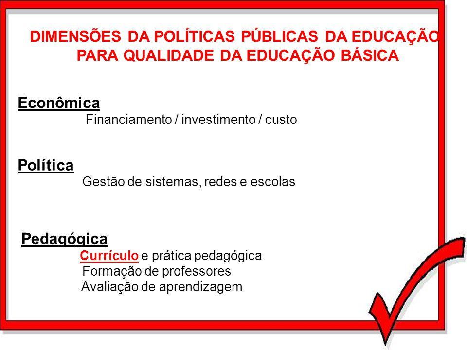 DIMENSÕES DA POLÍTICAS PÚBLICAS DA EDUCAÇÃO PARA QUALIDADE DA EDUCAÇÃO BÁSICA Econômica Financiamento / investimento / custo Política Gestão de sistem