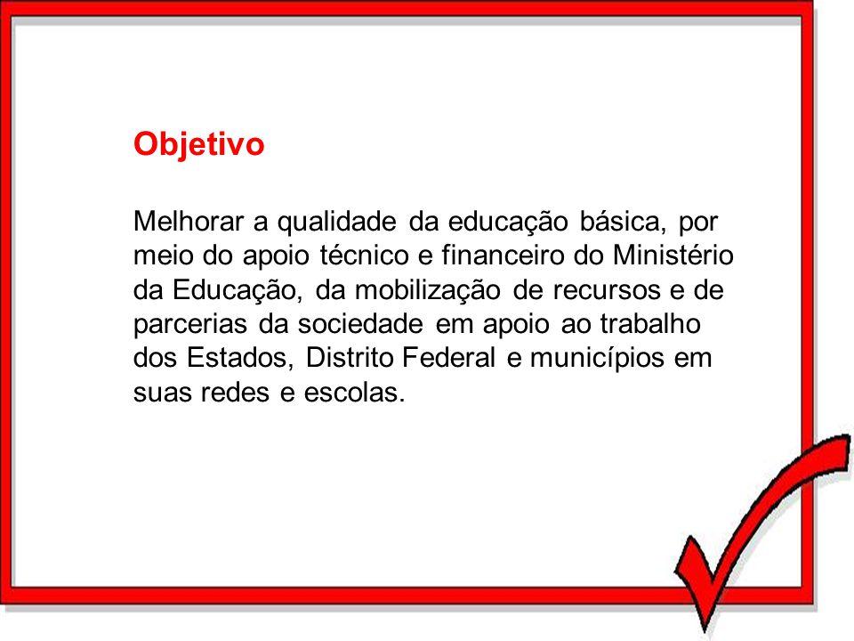 Objetivo Melhorar a qualidade da educação básica, por meio do apoio técnico e financeiro do Ministério da Educação, da mobilização de recursos e de pa