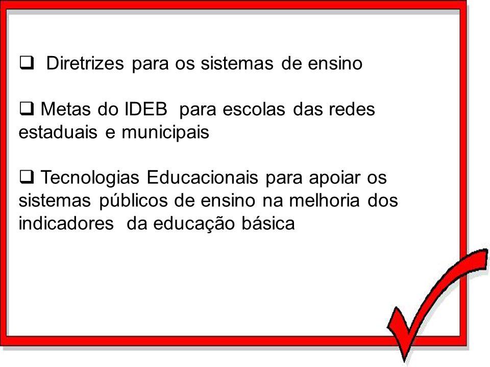Diretrizes para os sistemas de ensino Metas do IDEB para escolas das redes estaduais e municipais Tecnologias Educacionais para apoiar os sistemas púb