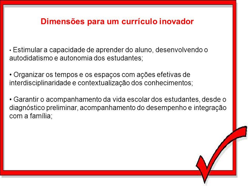 Dimensões para um currículo inovador Estimular a capacidade de aprender do aluno, desenvolvendo o autodidatismo e autonomia dos estudantes; Organizar