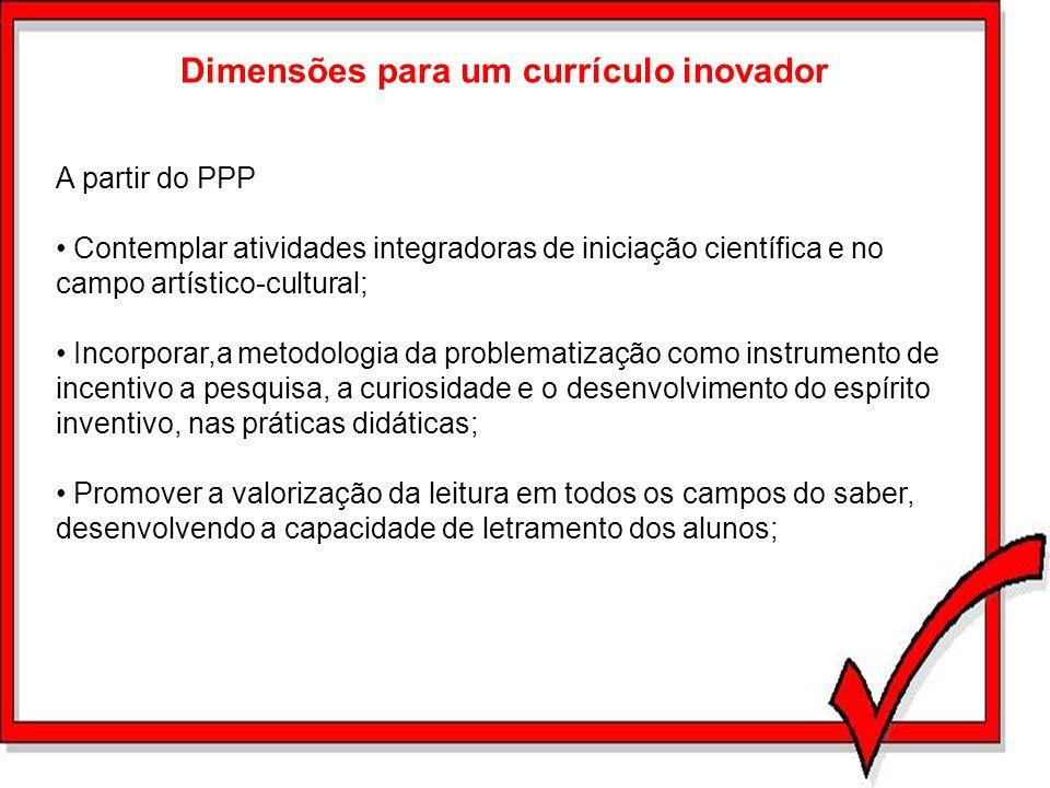 Dimensões para um currículo inovador A partir do PPP Contemplar atividades integradoras de iniciação científica e no campo artístico-cultural; Incorpo