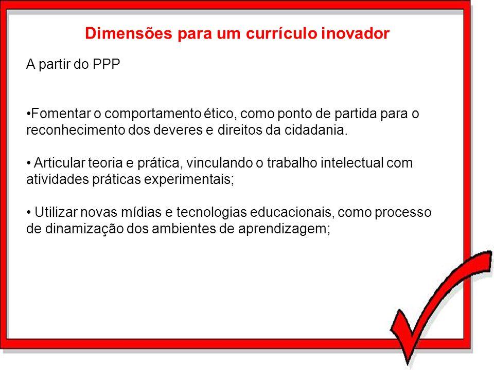 Dimensões para um currículo inovador A partir do PPP Fomentar o comportamento ético, como ponto de partida para o reconhecimento dos deveres e direito