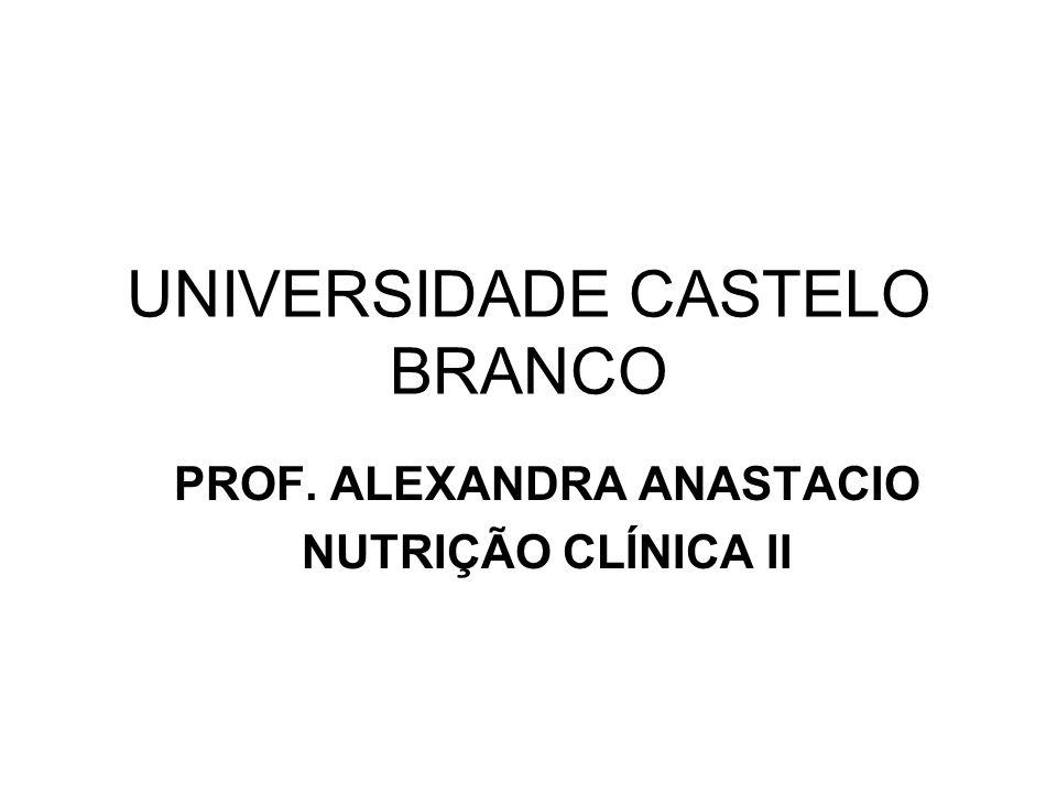 UNIVERSIDADE CASTELO BRANCO PROF. ALEXANDRA ANASTACIO NUTRIÇÃO CLÍNICA II