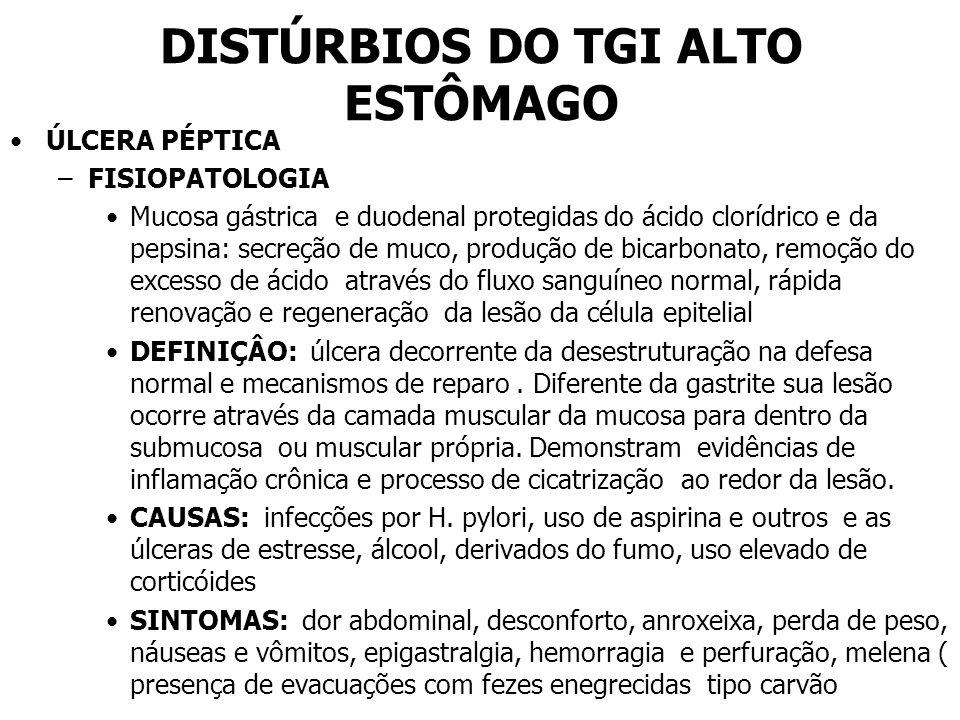 DISTÚRBIOS DO TGI ALTO ESTÔMAGO ÚLCERA PÉPTICA –FISIOPATOLOGIA Mucosa gástrica e duodenal protegidas do ácido clorídrico e da pepsina: secreção de muc