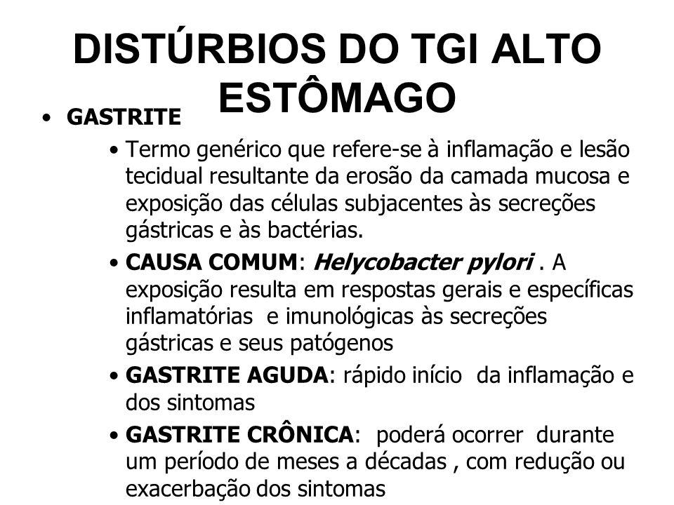 DISTÚRBIOS DO TGI ALTO ESTÔMAGO GASTRITE Termo genérico que refere-se à inflamação e lesão tecidual resultante da erosão da camada mucosa e exposição