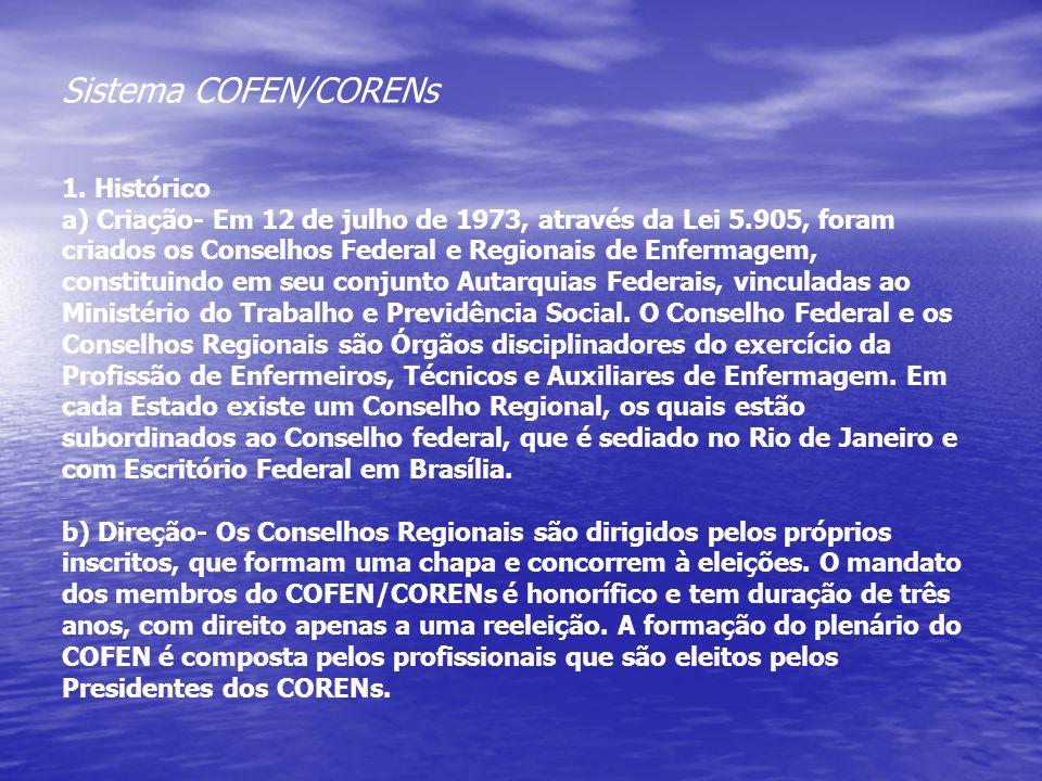 Sistema COFEN/CORENs 1. Histórico a) Criação- Em 12 de julho de 1973, através da Lei 5.905, foram criados os Conselhos Federal e Regionais de Enfermag