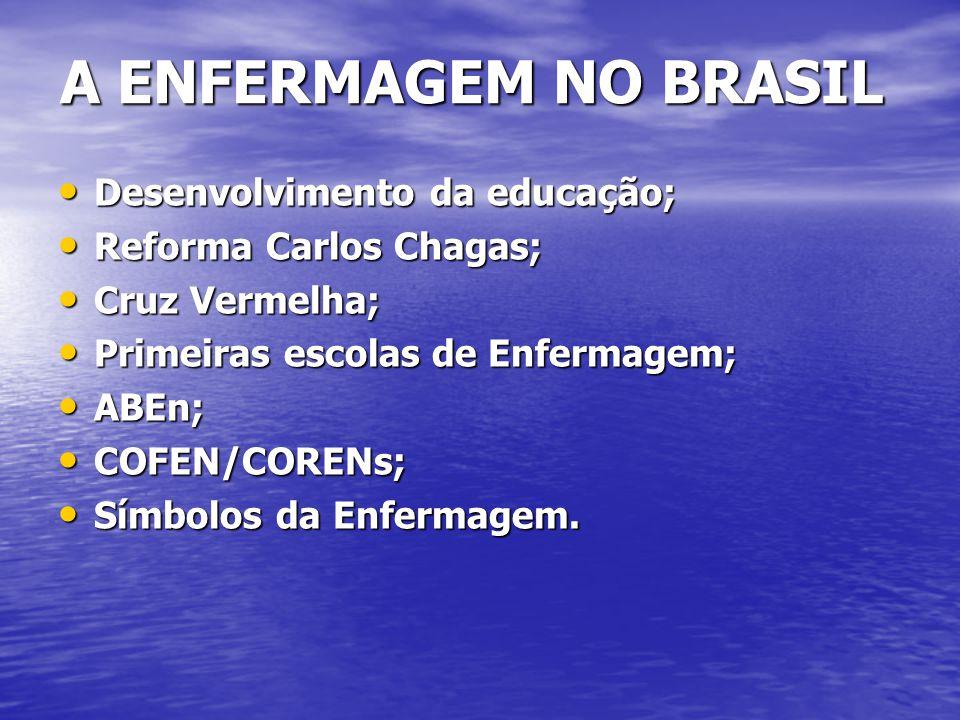 A ENFERMAGEM NO BRASIL A ENFERMAGEM NO BRASIL Desenvolvimento da educação; Desenvolvimento da educação; Reforma Carlos Chagas; Reforma Carlos Chagas;