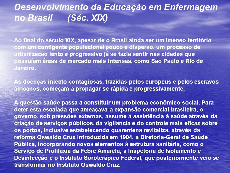 Desenvolvimento da Educação em Enfermagem no Brasil (Séc. XIX) Ao final do século XIX, apesar de o Brasil ainda ser um imenso território com um contig