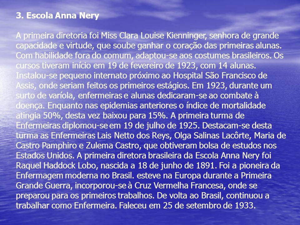 3. Escola Anna Nery A primeira diretoria foi Miss Clara Louise Kienninger, senhora de grande capacidade e virtude, que soube ganhar o coração das prim