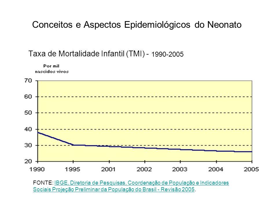Conceitos e Aspectos Epidemiológicos do Neonato Taxa de Mortalidade Infantil (TMI) - 1990-2005 FONTE: IBGE, Diretoria de Pesquisas, Coordenação de Pop