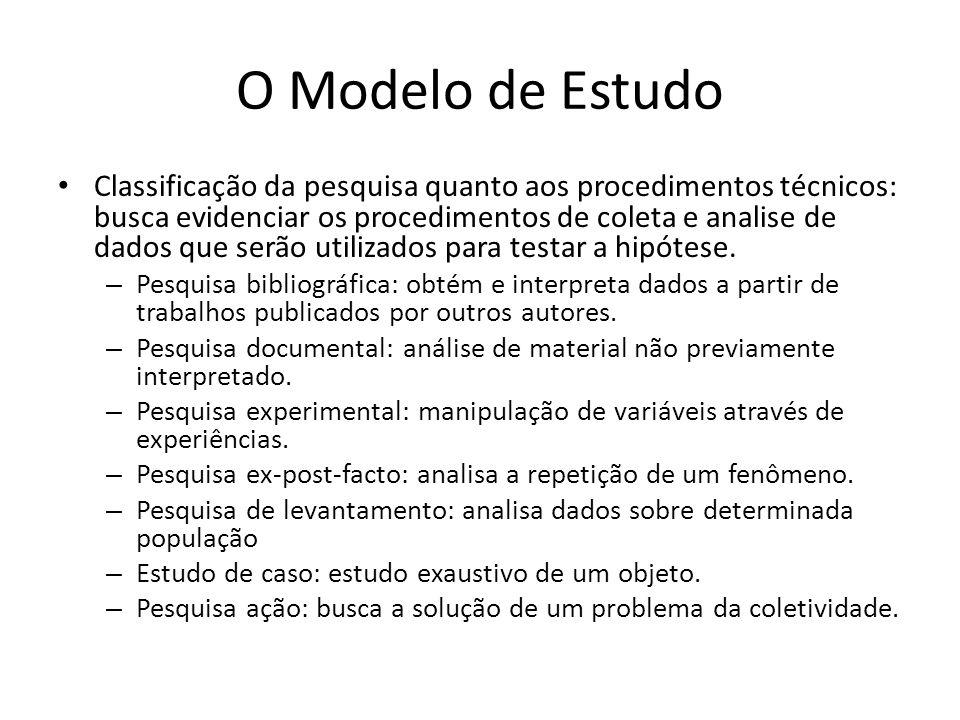 O Modelo de Estudo Classificação da pesquisa quanto aos procedimentos técnicos: busca evidenciar os procedimentos de coleta e analise de dados que serão utilizados para testar a hipótese.