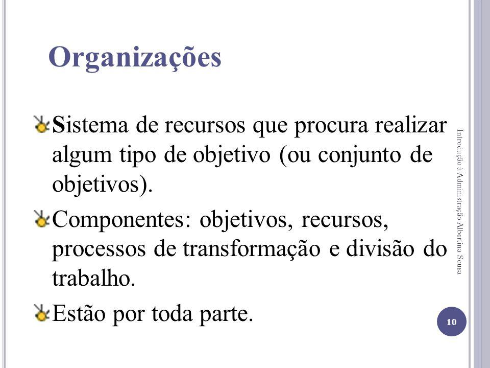 Organizações Sistema de recursos que procura realizar algum tipo de objetivo (ou conjunto de objetivos). Componentes: objetivos, recursos, processos d
