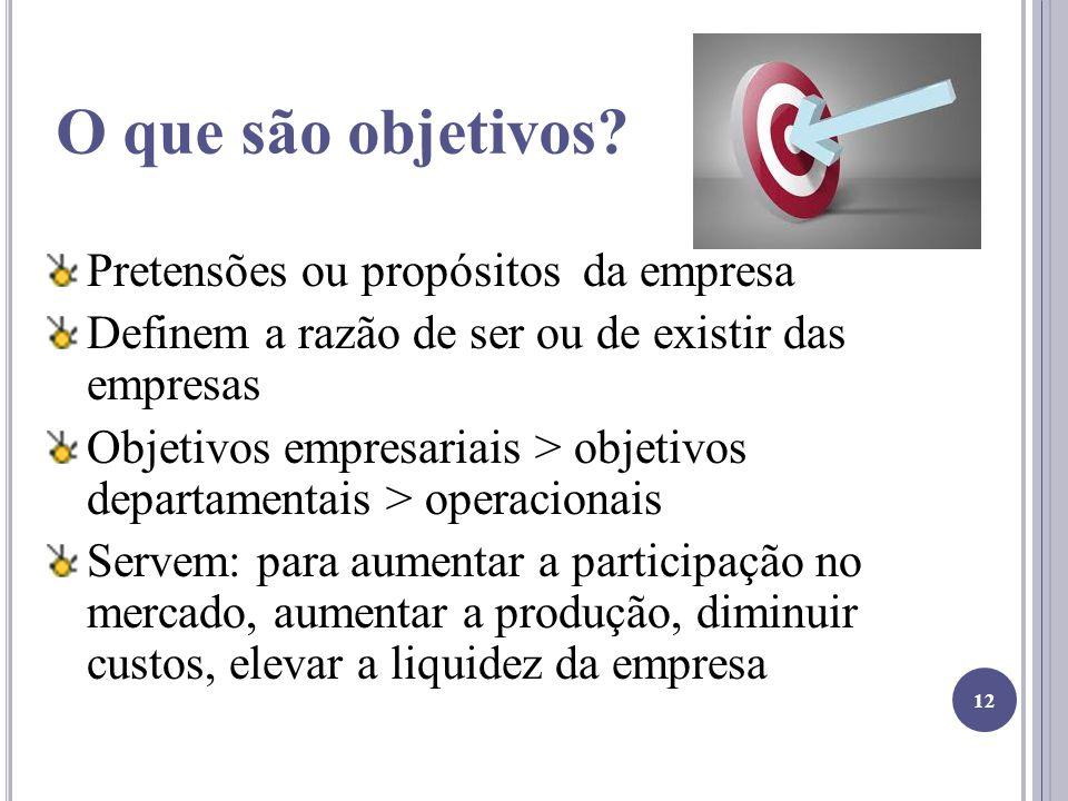 O que são objetivos? Pretensões ou propósitos da empresa Definem a razão de ser ou de existir das empresas Objetivos empresariais > objetivos departam