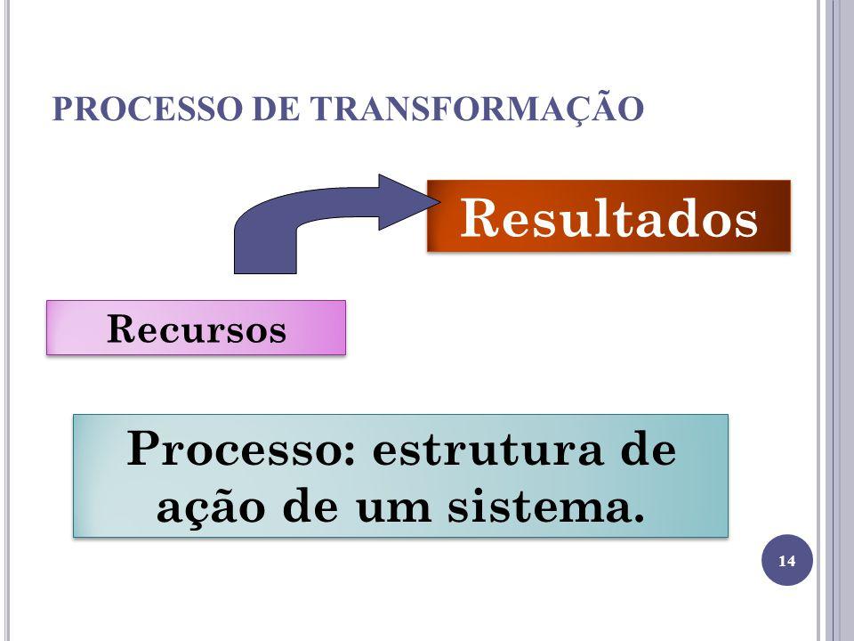 PROCESSO DE TRANSFORMAÇÃO Recursos Resultados Processo: estrutura de ação de um sistema. 14