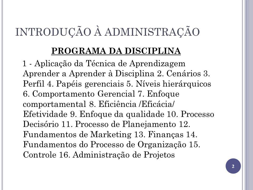 INTRODUÇÃO À ADMINISTRAÇÃO PROGRAMA DA DISCIPLINA 1 - Aplicação da Técnica de Aprendizagem Aprender a Aprender à Disciplina 2. Cenários 3. Perfil 4. P