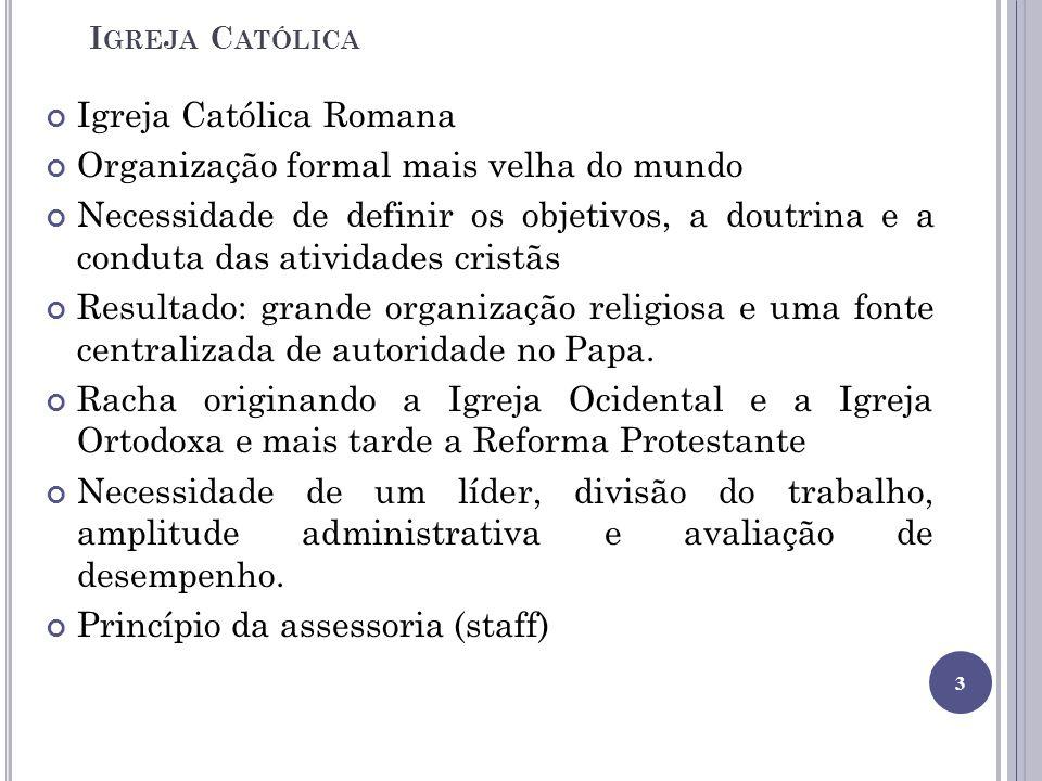I GREJA C ATÓLICA Igreja Católica Romana Organização formal mais velha do mundo Necessidade de definir os objetivos, a doutrina e a conduta das ativid