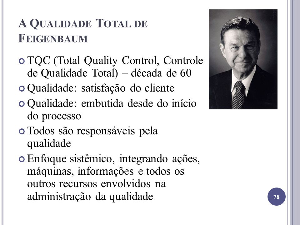 A Q UALIDADE T OTAL DE F EIGENBAUM TQC (Total Quality Control, Controle de Qualidade Total) – década de 60 Qualidade: satisfação do cliente Qualidade: