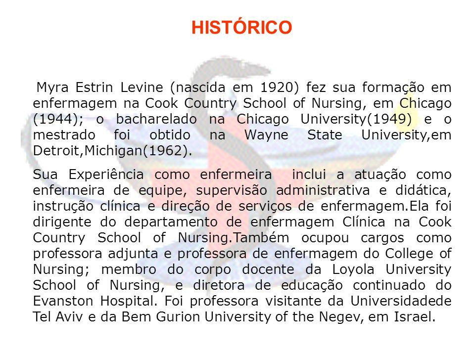 HISTÓRICO Myra Estrin Levine (nascida em 1920) fez sua formação em enfermagem na Cook Country School of Nursing, em Chicago (1944); o bacharelado na C
