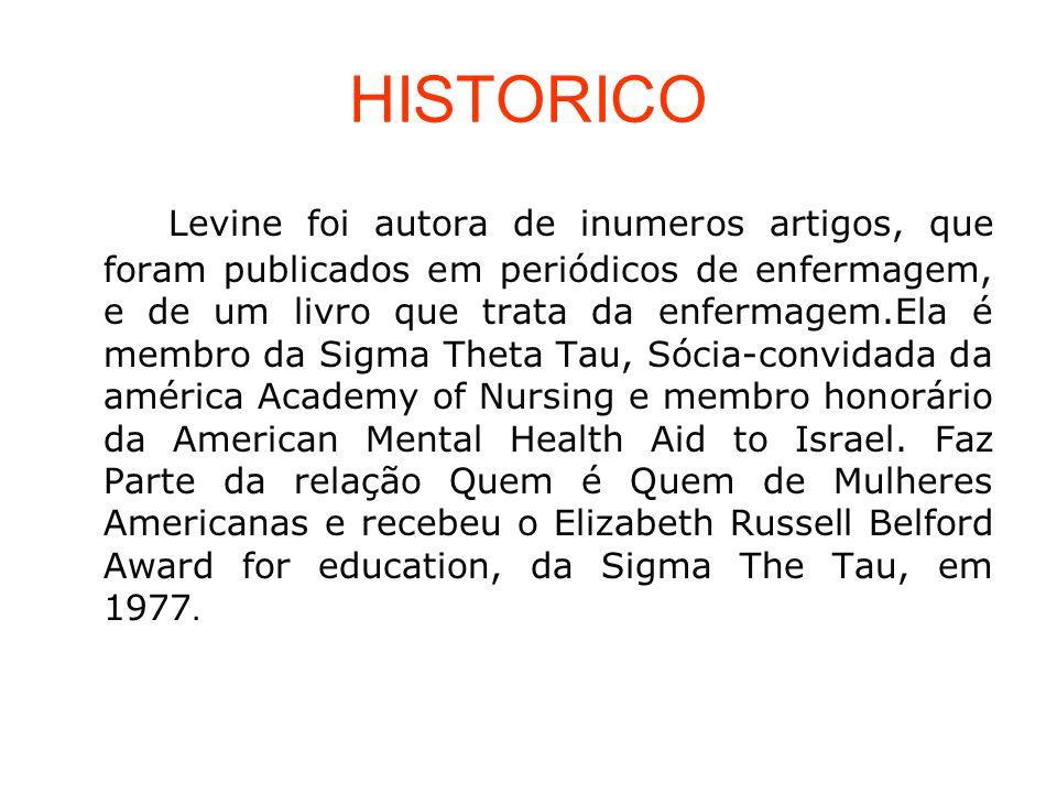 HISTORICO Levine foi autora de inumeros artigos, que foram publicados em periódicos de enfermagem, e de um livro que trata da enfermagem.Ela é membro
