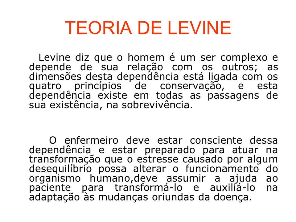 TEORIA DE LEVINE Levine diz que o homem é um ser complexo e depende de sua relação com os outros; as dimensões desta dependência está ligada com os qu