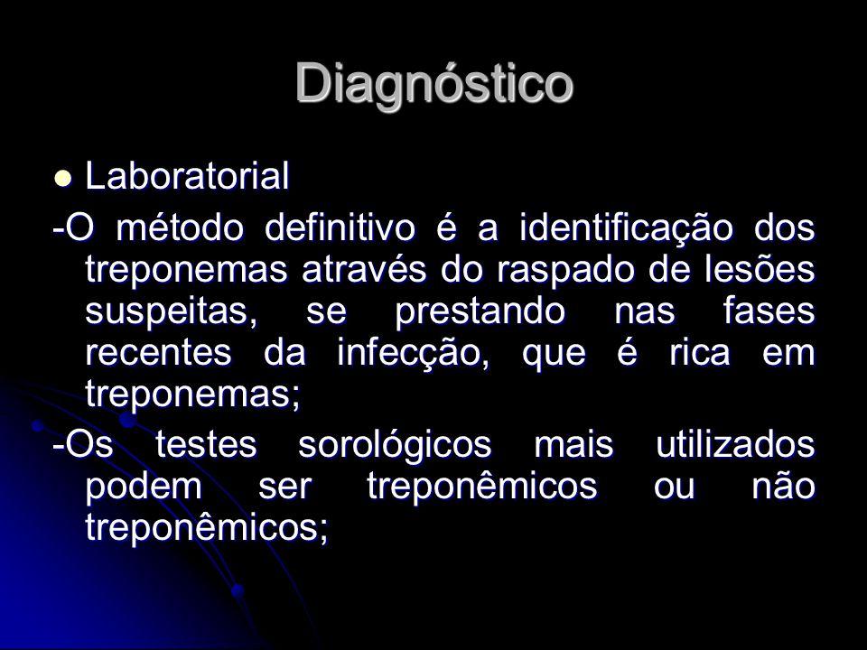 Diagnóstico Laboratorial Laboratorial -O método definitivo é a identificação dos treponemas através do raspado de lesões suspeitas, se prestando nas f