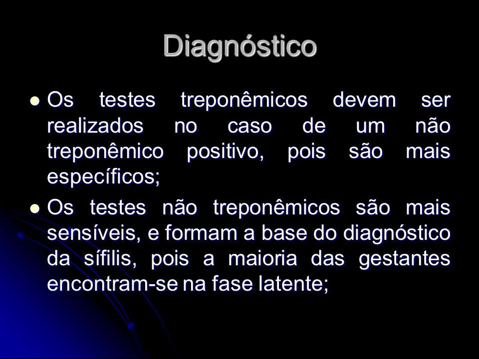 Diagnóstico Os testes treponêmicos devem ser realizados no caso de um não treponêmico positivo, pois são mais específicos; Os testes treponêmicos deve