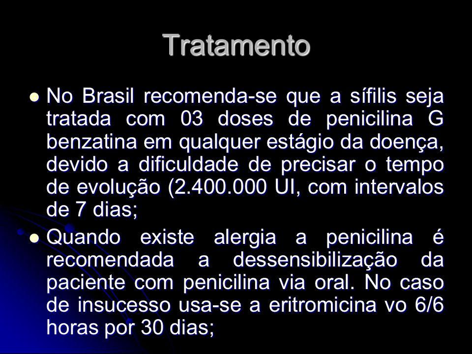 Tratamento No Brasil recomenda-se que a sífilis seja tratada com 03 doses de penicilina G benzatina em qualquer estágio da doença, devido a dificuldad