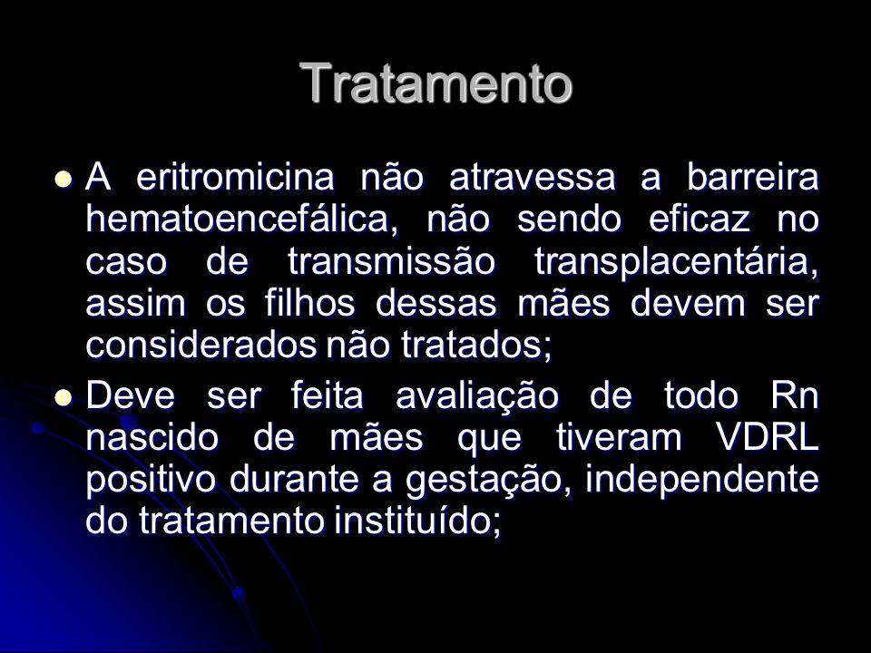 Tratamento A eritromicina não atravessa a barreira hematoencefálica, não sendo eficaz no caso de transmissão transplacentária, assim os filhos dessas
